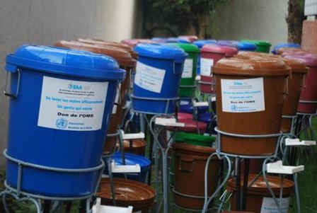 WHO plastic buckets for hand washing in